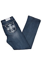 Grace in LA Women's Bling Leather Cross Easy Fit Boot Cut Jeans - Plus Size