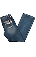 Grace in LA Women's Medium Wash Colorful Pocket Stitching Straight Jeans - Plus Size