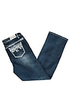 Grace in LA Women's Dark Wash Floral Decorative Stitch Straight Leg Jeans - Plus Size