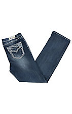 Grace in LA Women's Dark Wash Crystal Edge Flap Pocket Boot Cut Jeans - Plus Size