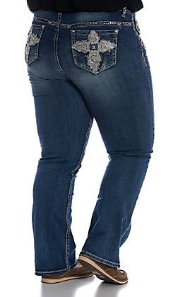 Grace in LA Women's Distressed Dark Wash Sequin Cross Boot Cut Jeans - Plus Size