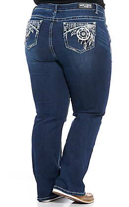 Grace in L.A. Women's Dream Catcher Boot Cut Jeans - Plus Sizes