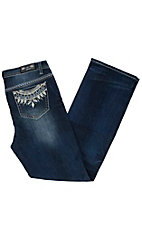 Grace in LA Women's Dark Wash Tribal Boot Cut Jeans - Plus Size