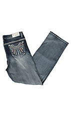 Grace in LA Women's Medium Wash Embroidered Dream Catcher Pocket Straight Leg Jeans - Plus Sizes