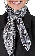 Silver and Black Paisley Silk Wild Rags Scarf