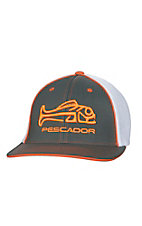 Pescador Charcoal, White and Orange Logo Fish Mesh Back Fitted Cap - S/M