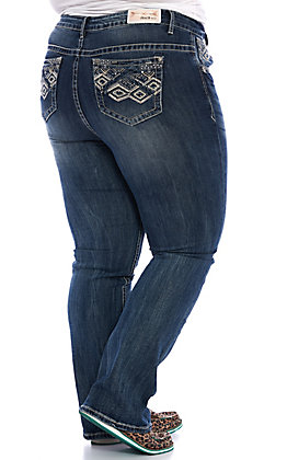 Grace in LA Women's Plus Size Dark Wash Diamond Embroidered Straight Leg Jeans