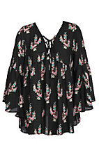 Berry N Cream Women's Black Floral Cactus Fashion Shirt - Plus Size