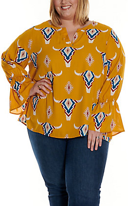 Berry N Cream Women's Mustard with Aztec Skull Print Long Sleeve Fashion Top - Plus Sizes