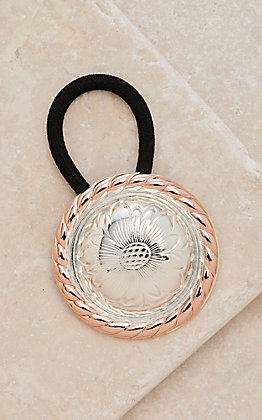 Montana Silversmiths Two Tone Rose Gold Concho Hair Tie