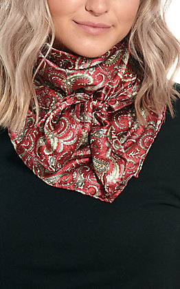 Charmeuse Wine with Olive Paisley Print Silk Wild Rags Scarf