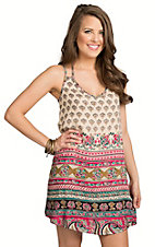 Angie Women's White Navajo Print Challis Sleeveless Dress