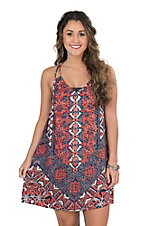 Angie Women's Navy Print Tank Dress