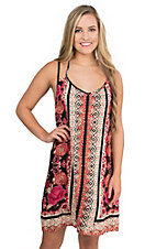 Angie Women's Black, Red, Orange, and Cream Floral Print Strapy Back Sleeveless Sun Dress