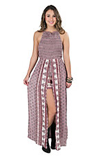 Angie Women's Lilac Multi Print Smocked Halter Top Romper Maxi Dress