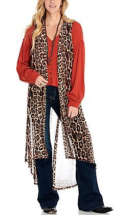 Crazy Train Women's Leopard Print Long Vest