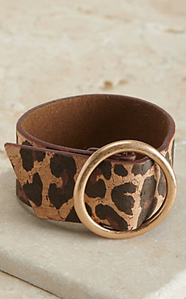 Amber's Allie Brown Leopard Print with Gold Ring Thick Adjustable Bracelet