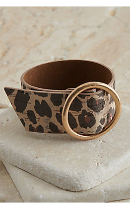 Amber's Allie Tan with Leopard Print with Gold Ring Thick Adjustable Bracelet
