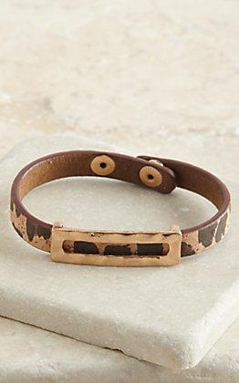 Amber's Allie Brown Leopard Print with Gold Slide Snap Bracelet
