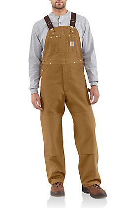 Carhartt Brown Duck Unlined Bib Overalls - Big & Tall