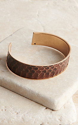 Amber's Allie Gold with Brown Snake Skin Inlay Cuff Bracelet
