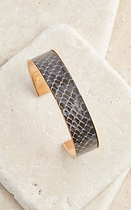 Amber's Allie Gold with Grey Snake Skin Inlay Cuff Bracelet