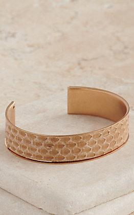 Amber's Allie Gold with Ivory Snake Skin Cuff Bracelet