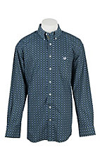 Panhandle Men's Navy, Green, and Cream Print Long Sleeve Western Shirt