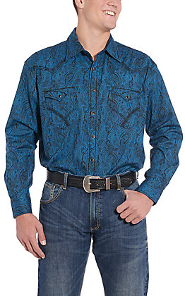 Rough Stock by Panhandle Teal Paisley Print Western Shirt