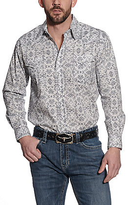 Roughstock by Panhandle Men's White Medallion Print Long Sleeve Western Shirt