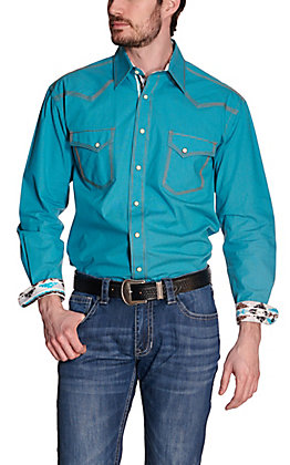 Panhandle Rough Stock Men's Solid Turquoise with Brown Stitching Dobby Long Sleeve Western Shirt
