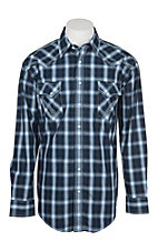 Panhandle Rough Stock Fancy Navy Plaid L/S Western Snap Shirt