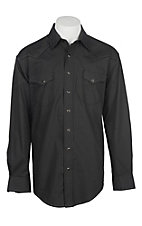 Panhandle Rough Stock Men's Black Vintage Print L/S Western Snap Shirt