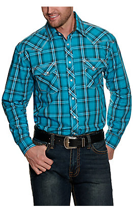 Panhandle Rough Stock Men's Bright Turquoise Plaid Long Sleeve Western Shirt