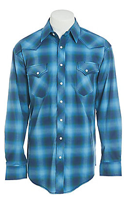 Panhandle Men's Blue Rough Stock Southwestern Print Western Shirt