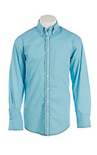 Panhandle Rough Stock Men's Light Blue with Brown Patterned L/S Western Shirt