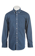 Panhandle Rough Stock Men's Navy with White Patterned L/S Western Shirt