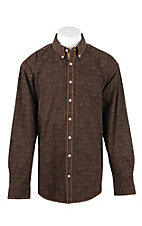 Panhandle Men's Brown Paisley Pring Long Sleeve Western Shirt