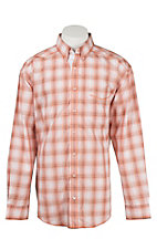 Panhandle Men's Orange, Grey, and Cream Plaid Long Sleeve Western Shirt