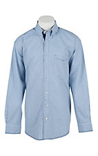 Panhandle Men's Navy and White Mini Check Long Sleeve Western Shirt