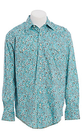 Rough Stock by Panhandle Turquoise Paisley Print Western Shirt