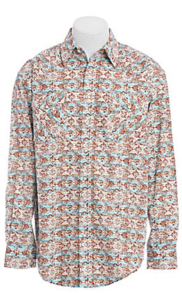 Rough Stock by Panhandle Blue Gerona Aztec Print Western Shirt