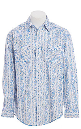 Rough Stock by Panhandle Blue Paisley Print Western Shirt