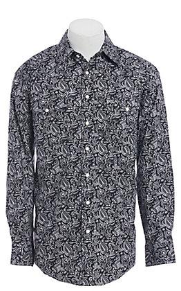 Rough Stock by Panhandle Black Aztec Paisley Print Western Shirt