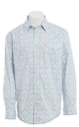 Panhandle Roughstock Men's White with Turquoise Aztec Print Long Sleeve Western Shirt