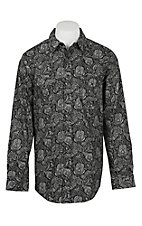 Panhandle Rough Stock Men's Black & Grey Paisley L/S Western Snap Fashion Shirt