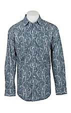 Panhandle Rough Stock Men's Navy & Green Paisley L/S Western Snap Fashion Shirt