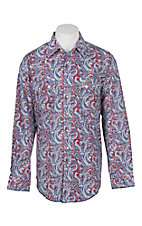 Panhandle Rough Stock Men's Red, Blue & Grey Distressed Paisley L/S Western Snap Fashion Shirt