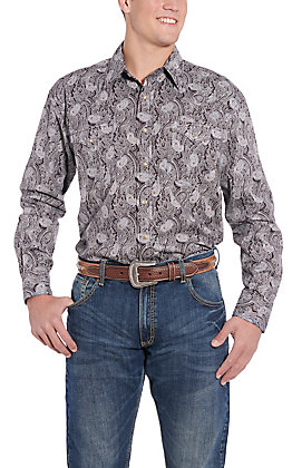 Rough Stock by Panhandle Chocolate Paisley Print Western Shirt