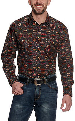Roughstock by Panhandle Men's Charcoal Aztec Print Long Sleeve Western Shirt